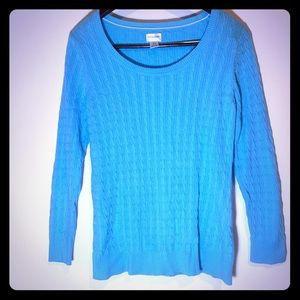 Motherhood Maternity Tiffany Blue Cable Sweater L